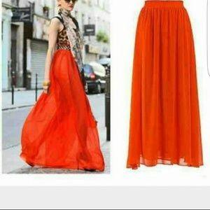 Blood orange maxi skirt